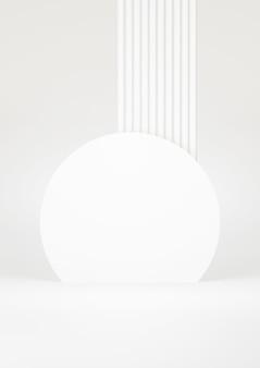 Fondo astratto bianco del podio. forma geometrica. scena di colore pastello bianco. rendering 3d minimo. scena con sfondo geometrico. rendering 3d