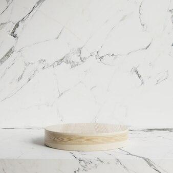 Podio su un pavimento in marmo bianco