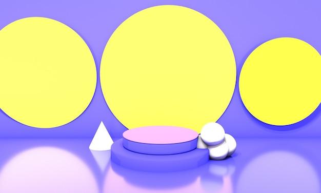 Podio con cerchi di sfondo giallo. illustrazione 3d