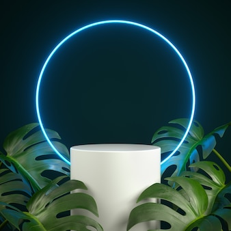 Podio con luce blu led neon con scena di pianta monstera. rendering 3d