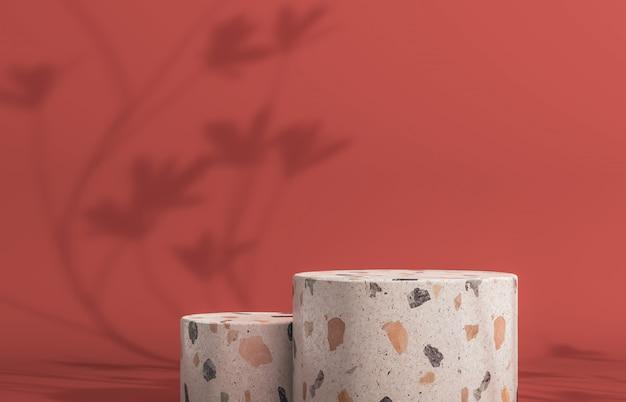 Podio con scatola cilindri vuota per esposizione di prodotti cosmetici. sfondo di moda con trama di terrazzo. rendering 3d.