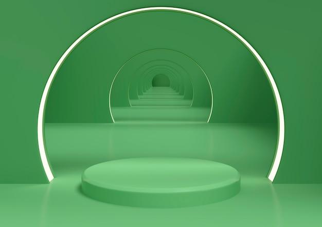 Podio con forma geometrica di colore verde, modello minimalista per la vetrina, rendering 3d