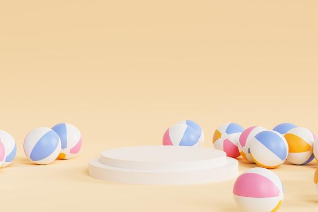 Podio con palloni da spiaggia gonfiabili, illustrazione minima 3d estiva render