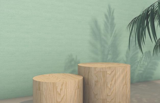 Il podio con la palma tropicale lascia l'ombra per l'esposizione del prodotto cosmetico. rendering 3d.