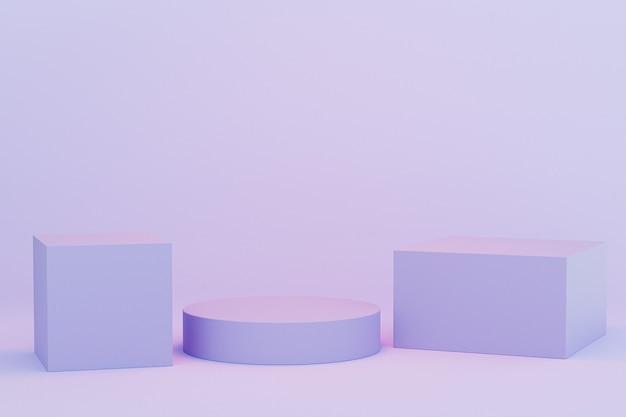 Podi o piedistalli per prodotti o pubblicità su sfondo blu pastello, rendering minimo di illustrazione 3d