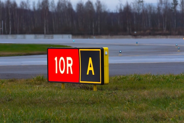 Puntatore sulla pista dell'aeroporto.