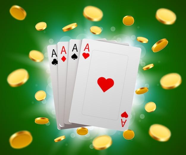Carte da poker ed esplosione di monete. concetto di casinò.