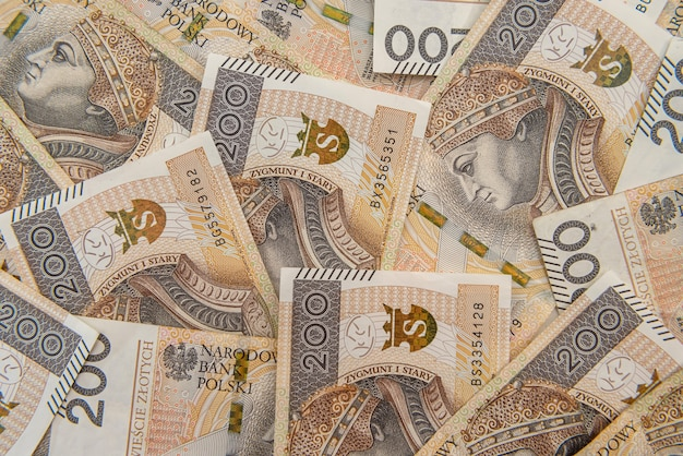 Polonia 200 zlotych fatture come sfondo. zygmunt io