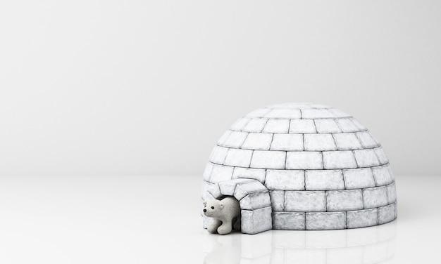 L'orso polare esce dalla casa di ghiaccio rendering 3d