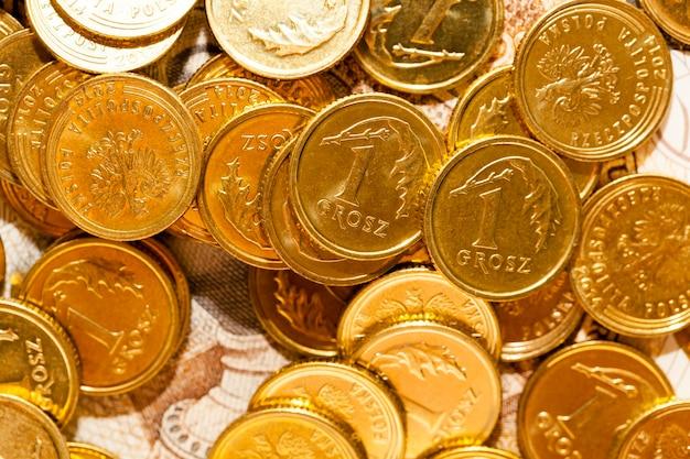 Primo piano polacco delle banconote e delle monete. mostrato dettagli di denaro con designazione internazionale - pln. profondità di campo, dall'alto