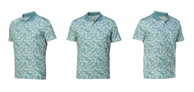 Polo con fantasia a fiori. t-shirt vista frontale tre posizioni su sfondo bianco