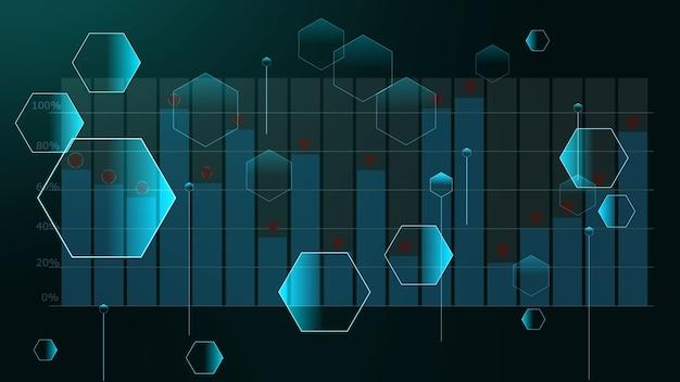Relazioni futuristiche del poligono di piccoli e grandi esagoni sulla barra del grafico con lo sfondo del segno del punto superiore
