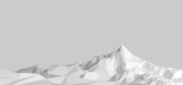 Immagine poligonale del terreno montuoso in toni di grigio. illustrazione 3d