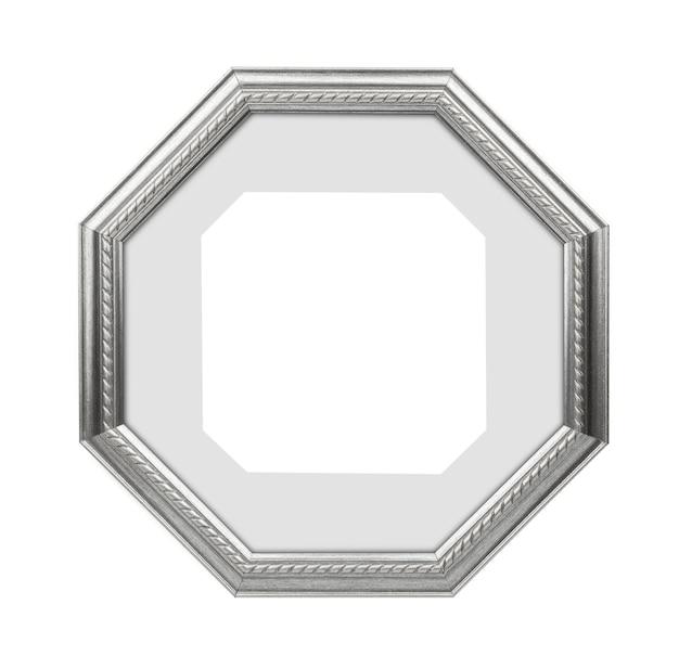 Cornice d'argento poligonale, cornice per foto isolata su sfondo bianco. con tracciato di ritaglio
