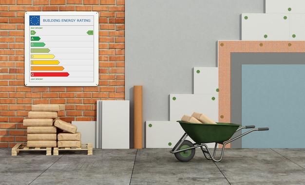 Pannelli isolanti in polistirolo su muro in mattoni per migliorare le prestazioni termiche di una vecchia casa - rendering 3d