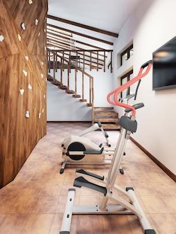 Piscina in una casa privata con palestra e parete da arrampicata in stile loft
