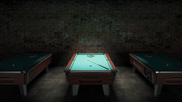 Tavolo da biliardo con muro di mattoni