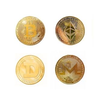 Set di monete crittografiche digitali popolari isolate su sfondo bianco