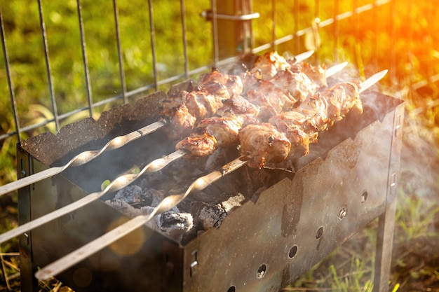 Gli spiedini di maiale sono grigliati alla griglia barbecue in una giornata di sole nella natura
