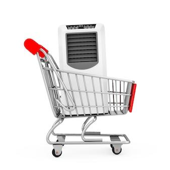 Condizionatore d'aria portatile della stanza mobile nel carrello del carrello su una priorità bassa bianca. rendering 3d
