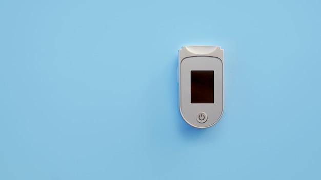 Pulsossimetro portatile isolato su sfondo blu.