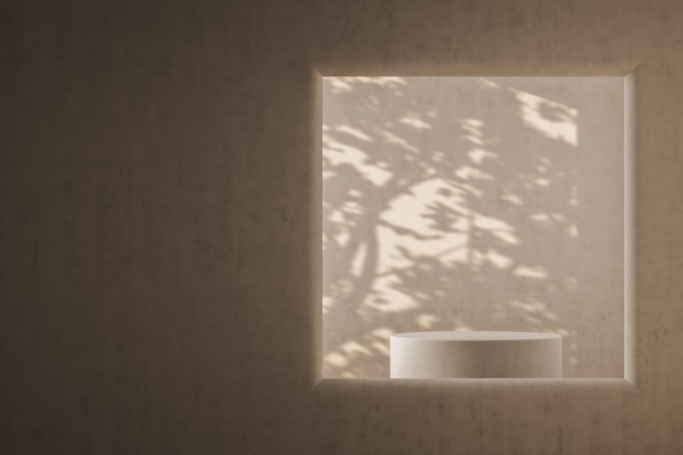 Un oblò che si affaccia su un podio cilindrico e sull'ombra di un albero