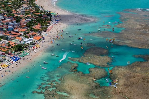 Porto de galinhas beach ipojuca vicino a recife pernambuco brasile vista aerea
