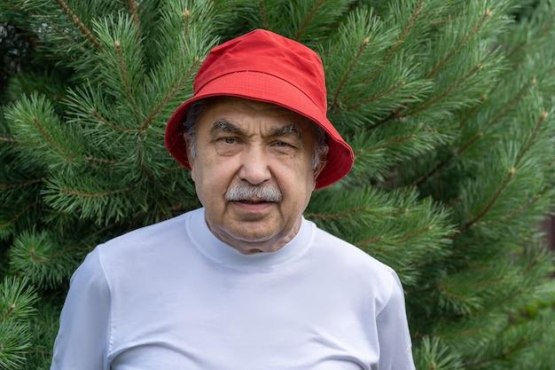 Ritratto di un uomo anziano di 70 anni che guarda con calma la telecamera.