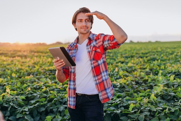 Ritratto dell'agronomo che sta nel campo con un ipad e uno sguardo