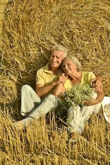 Ritratto di una bella coppia di anziani in campo estivo