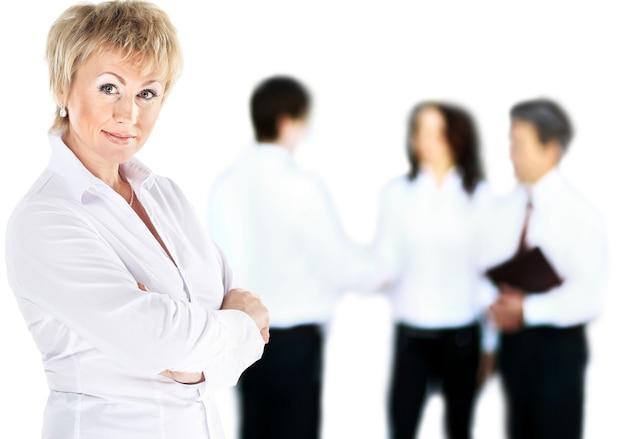 Ritratto di una donna d'affari in una buona giornata di lavoro