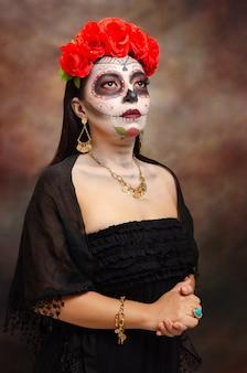 Ritratto di catrina tipico personaggio messicano rappresentante del giorno dei morti