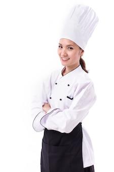 Ritratto di un allegro chef femminile