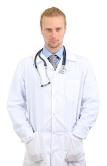 Ritratto di medico isolato su bianco