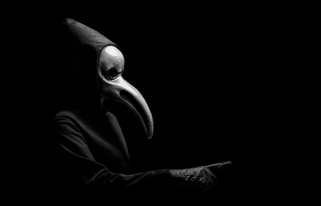 Ritratto di un medico in una vecchia maschera veneziana.