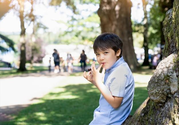Ritratto del ragazzo felice che mangia torta al cioccolato ubicazione nel parco