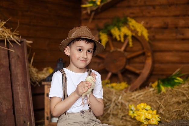 Ritratto di ragazzo felice in cappello di paglia con pollo, atmosfera festosa, pasqua