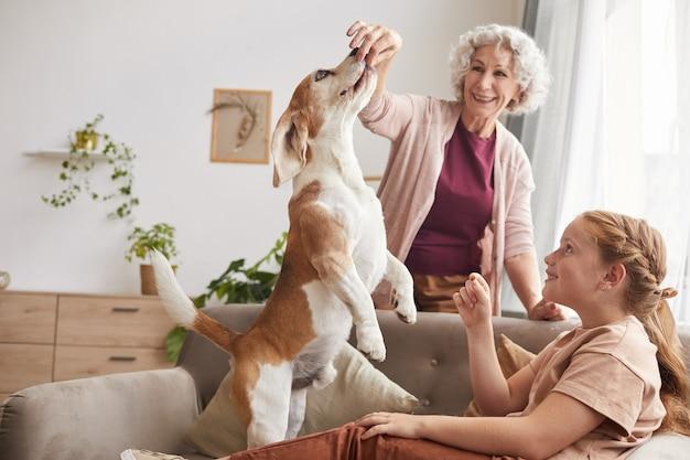 Ritratto di famiglia felice che gioca con il cane beagle attivo che salta per dolcetti in interni domestici