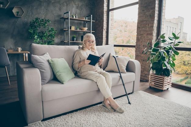 Ritratto di lei bella signora dai capelli grigi pacifica calma attraente gentile gentile che si siede sul divano leggendo il diario trascorrendo del tempo in casa di interni in stile moderno loft industriale in mattoni al chiuso