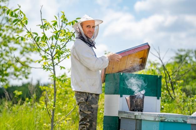Ritratto di apicoltore maschio con alveari in background. indumenti protettivi. apiario.