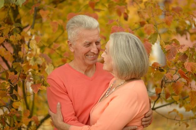 Ritratto di una coppia matura nel parco autunnale