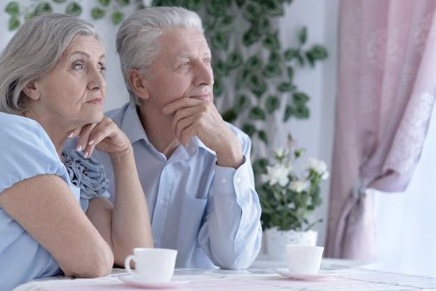 Ritratto di una coppia matura che beve tè