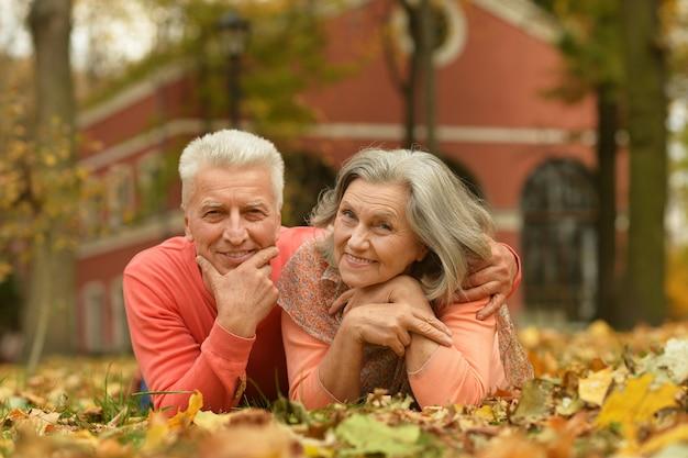 Ritratto di una coppia matura sdraiata sulle foglie nel parco autunnale