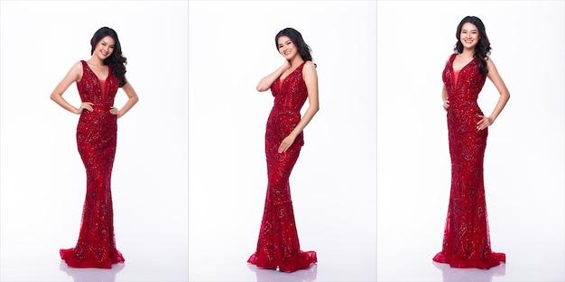 Ritratto di miss asian pageant beauty contest in abito lungo abito da sera rosso con paillettes, sfondo bianco di illuminazione da studio, confezione di gruppo collage di corpo integrale isolato