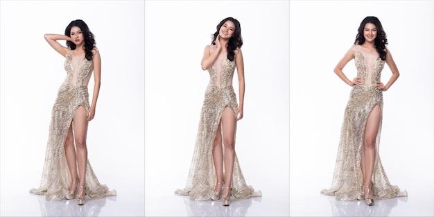 Ritratto di miss asian pageant beauty contest in abito lungo abito da ballo di sera con paillettes, sfondo bianco di illuminazione da studio, confezione di gruppo collage di corpo integrale isolato