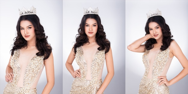 Ritratto di miss asian pageant beauty contest in abito lungo da sera con paillettes con brillanti corona di diamanti, illuminazione da studio sfondo grigio, gruppo collage pacchetto di metà corpo viso