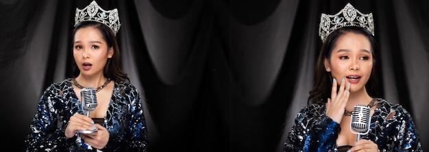 Ritratto di miss pageant beauty contest in abito da sera con paillettes blu argento scintillante corona di diamanti, donna asiatica si sente sicura nel microfono per intervista, sfondo drappeggiato in panno nero, pacchetto di gruppo collage