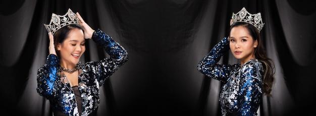Ritratto di miss pageant beauty contest in abito da sera con paillettes blu argento scintillante corona di diamanti, donna asiatica si sente sicura nella presentazione a piedi, sfondo drappeggiato in panno nero, pacchetto di gruppo collage