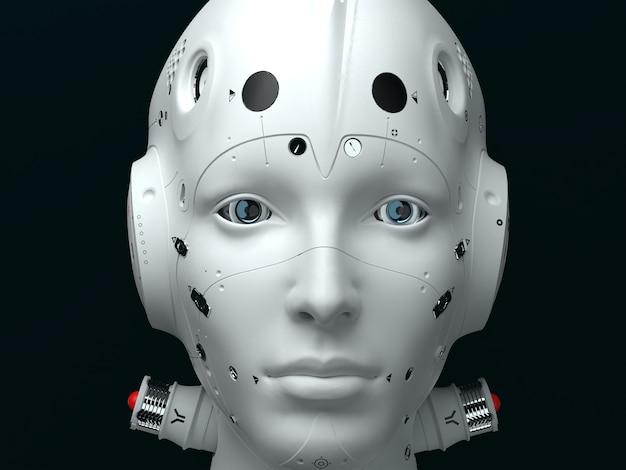 Ritratto di una donna robot da vicino