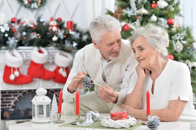 Ritratto di una coppia di anziani che si prepara per il natale